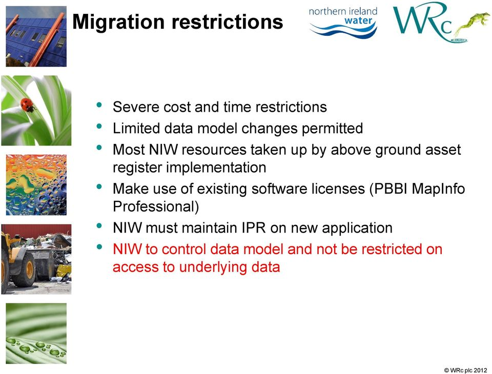 Make use of existing software licenses (PBBI MapInfo Professional) NIW must maintain