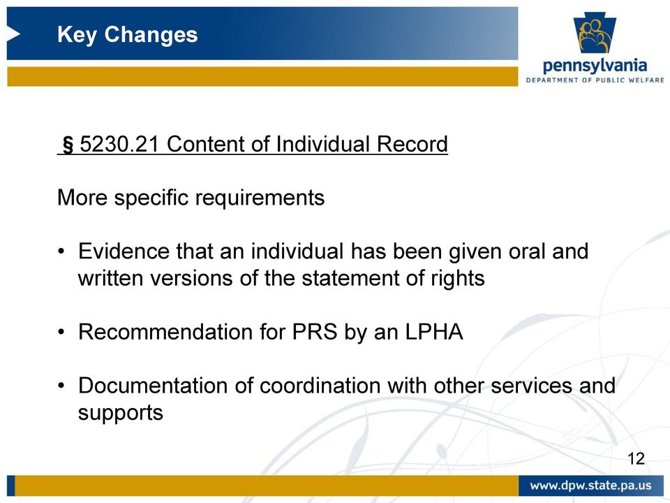 versions of the statement of rights Recommendation for PRS by an