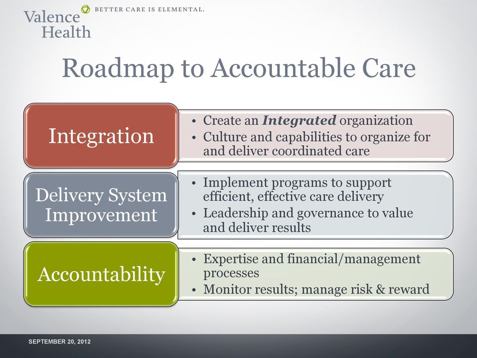 Implement programs to support efficient, effective care delivery Leadership and governance to