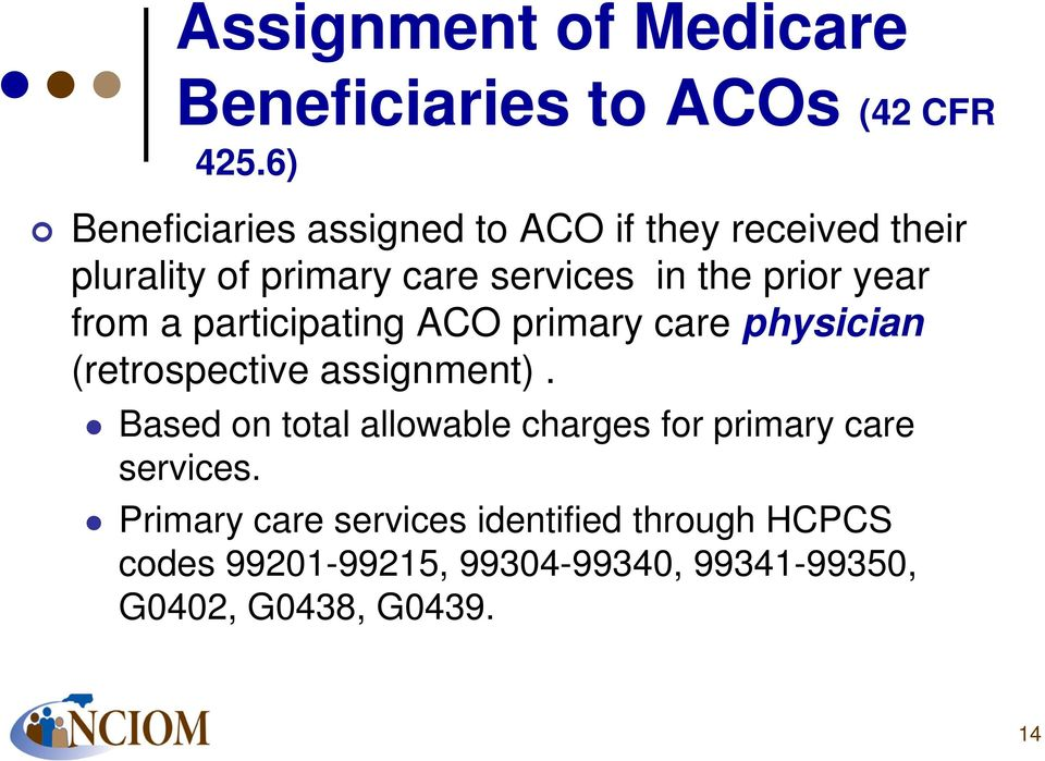 year from a participating ACO primary care physician (retrospective assignment).