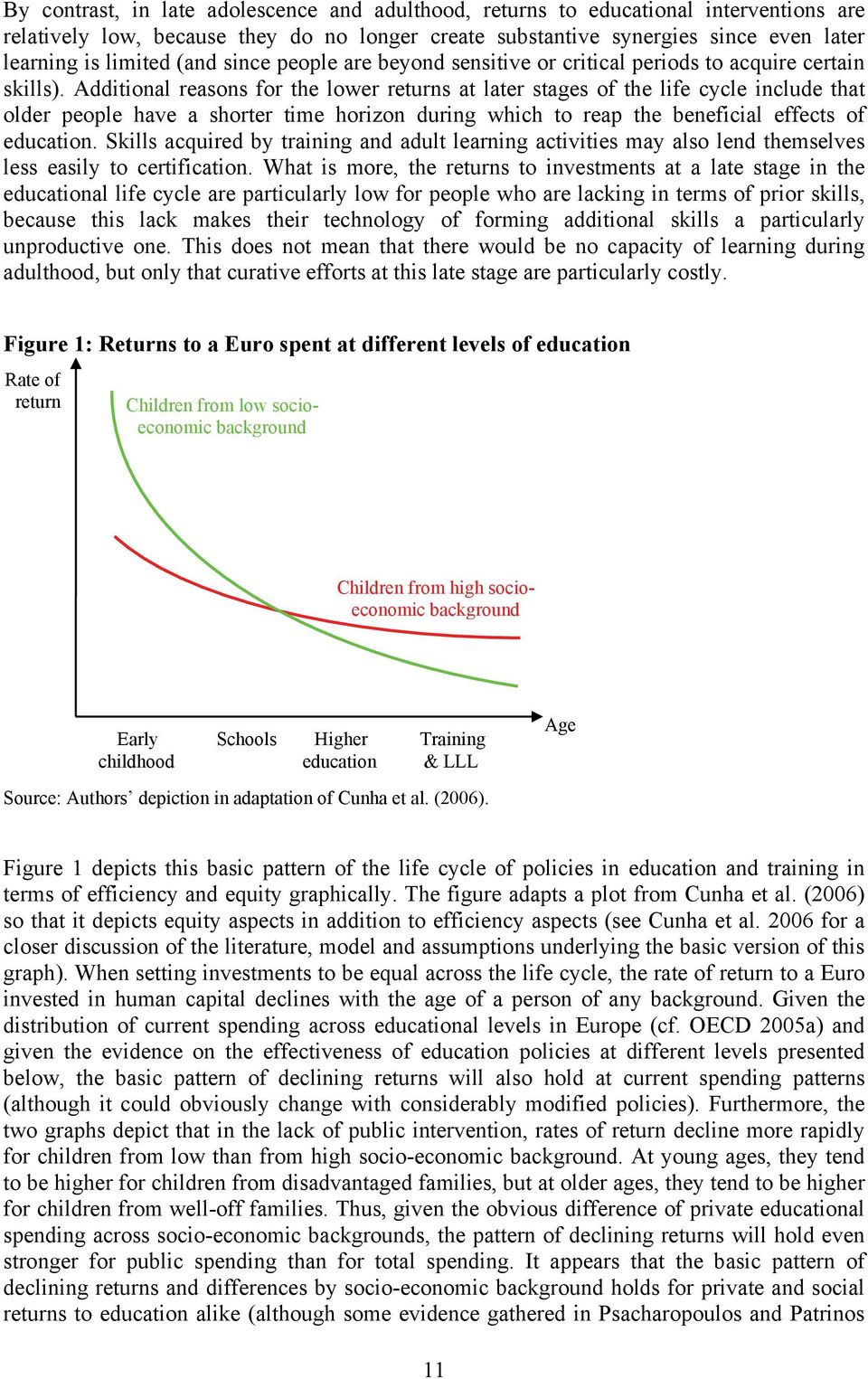 Additional reasons for the lower returns at later stages of the life cycle include that older people have a shorter time horizon during which to reap the beneficial effects of education.