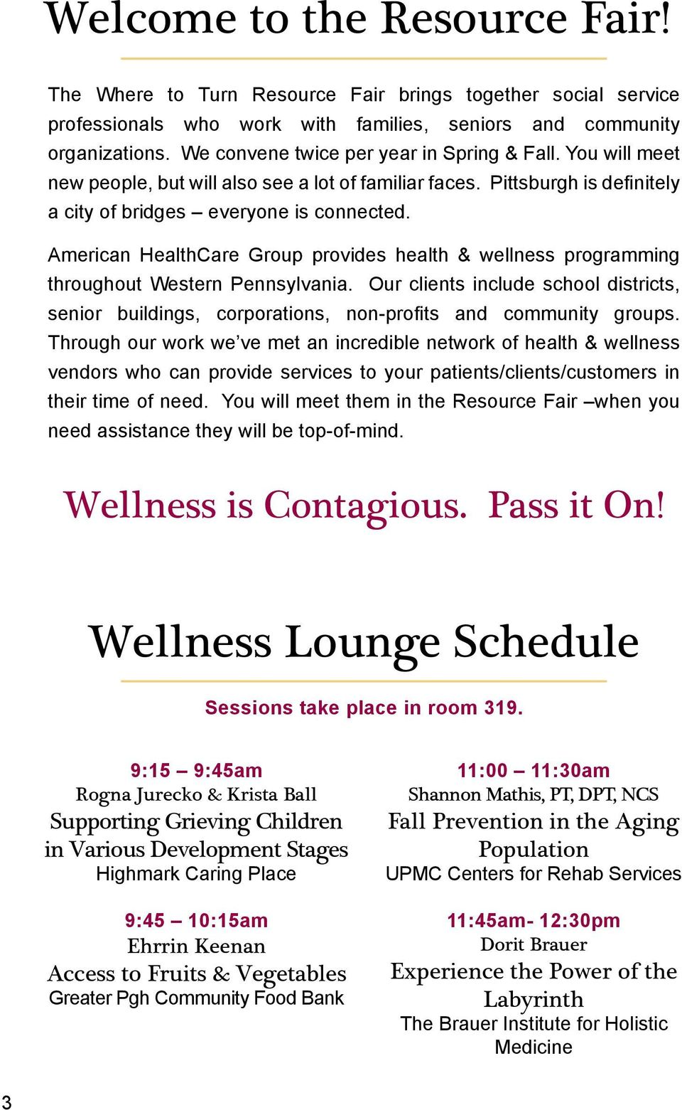 American HealthCare Group provides health & wellness programming throughout Western Pennsylvania.
