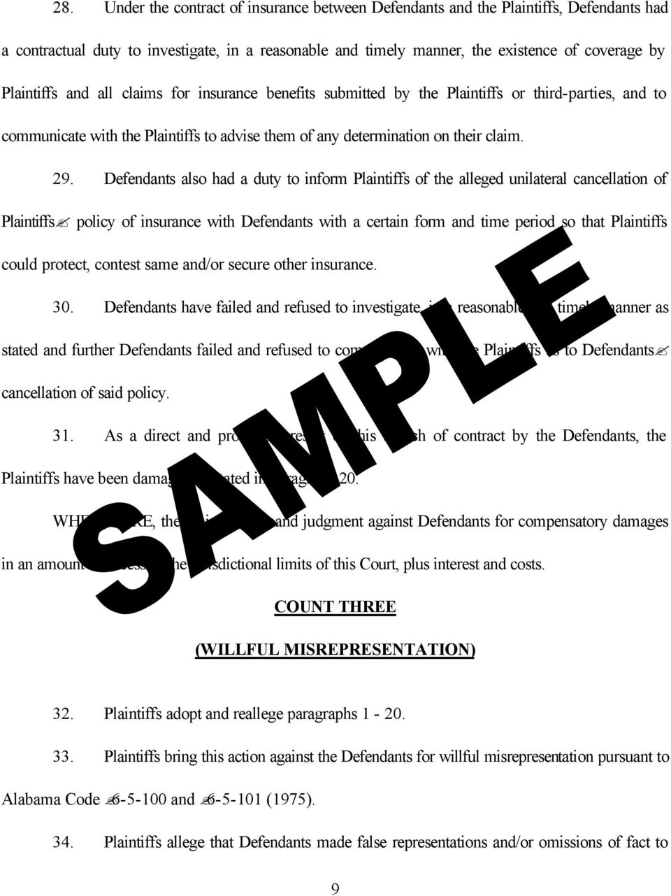 Defendants also had a duty to inform Plaintiffs of the alleged unilateral cancellation of Plaintiffs policy of insurance with Defendants with a certain form and time period so that Plaintiffs could
