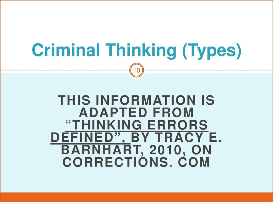 THINKING ERRORS DEFINED, BY TRACY