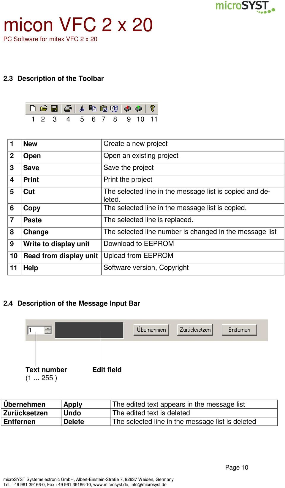 8 Change The selected line number is changed in the message list 9 Write to display unit Download to EEPROM 10 Read from display unit Upload from EEPROM 11 Help Software version, Copyright 2.