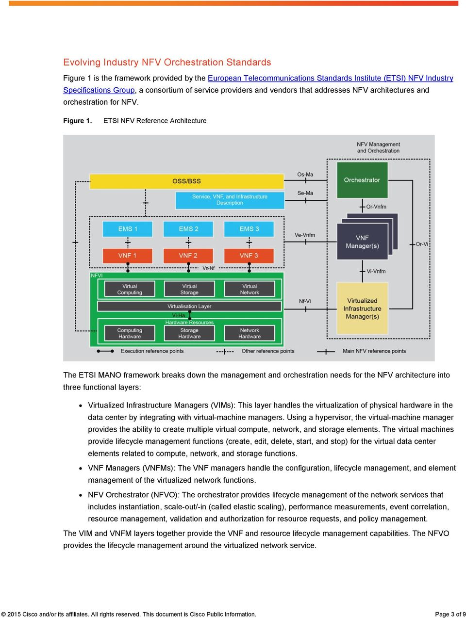 ETSI NFV Reference Architecture The ETSI MANO framework breaks down the management and orchestration needs for the NFV architecture into three functional layers: Virtualized Infrastructure Managers