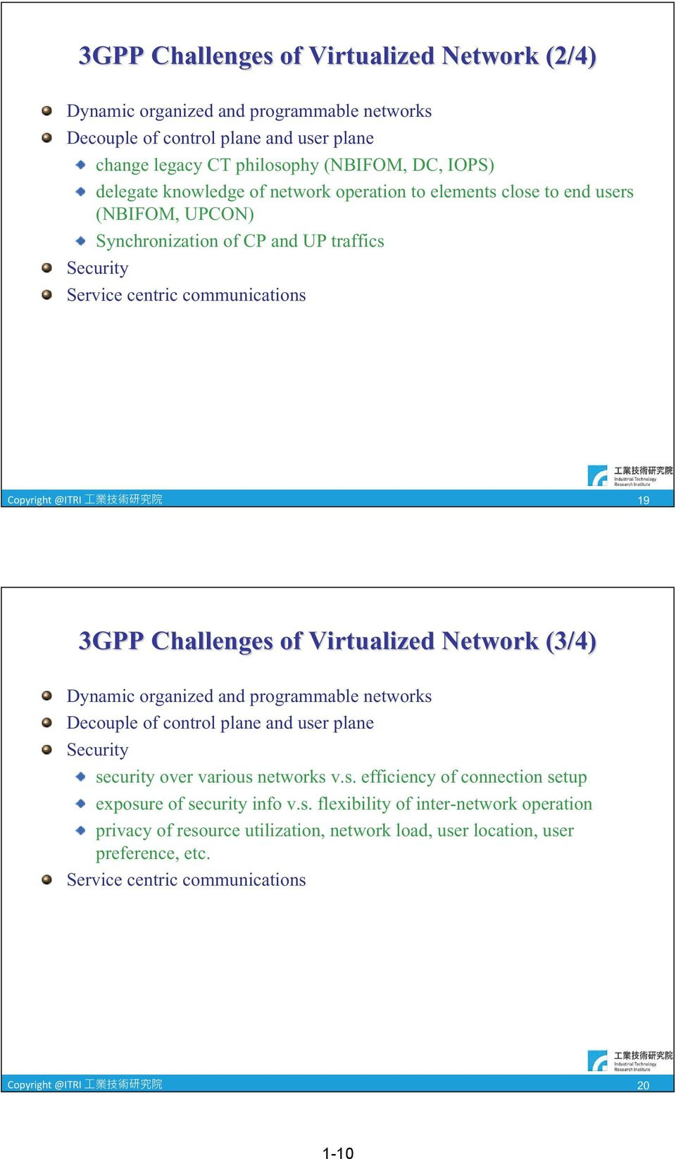 Virtualized Network (3/4) Dynamic organized and programmable networks Decouple of control plane and user plane Security security over various networks v.s. efficiency of connection setup exposure of security info v.