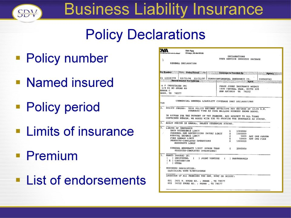 period Limits of insurance