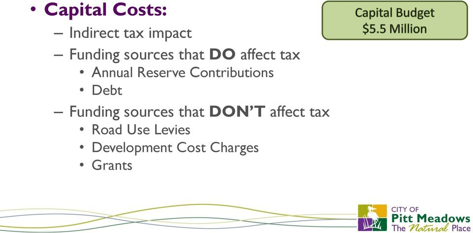 Contributions Debt Funding sources that DON T