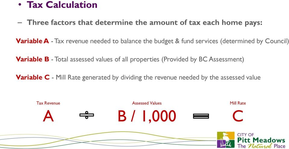 assessed values of all properties (Provided by BC Assessment) Variable C - Mill Rate generated by