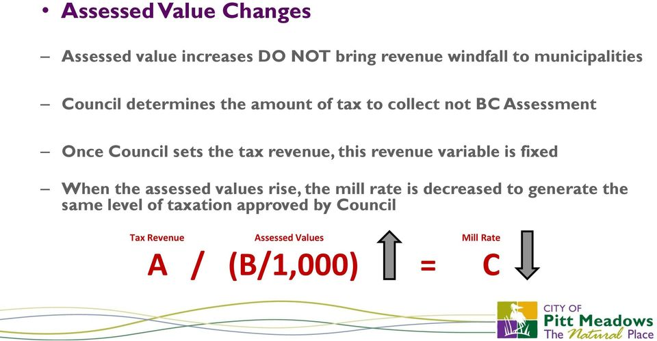 revenue, this revenue variable is fixed When the assessed values rise, the mill rate is decreased