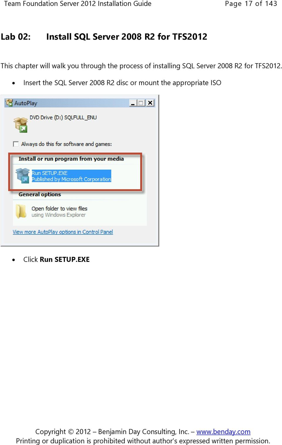 through the process of installing SQL Server 2008 R2 for TFS2012.
