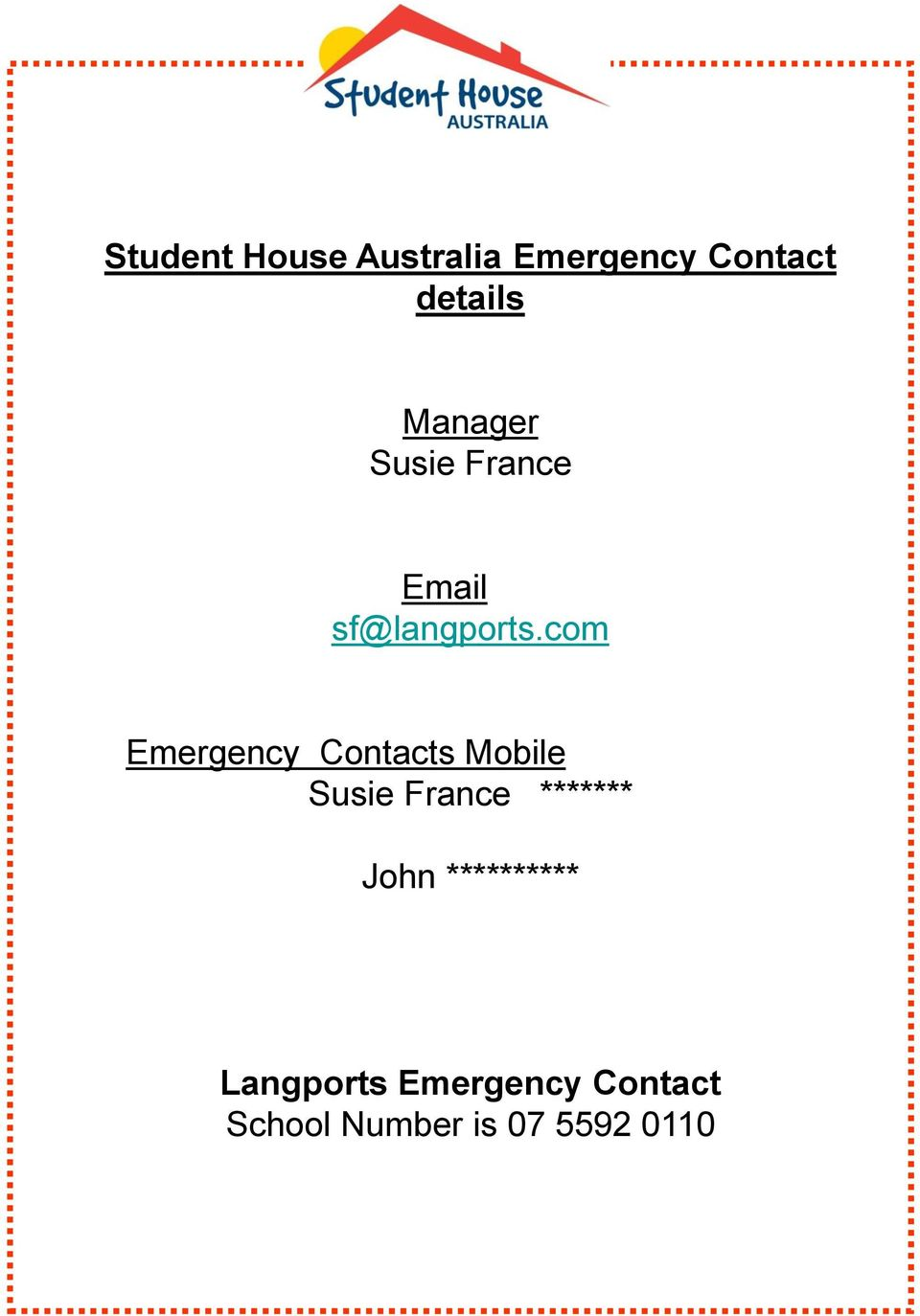 com Emergency Contacts Mobile Susie France *******