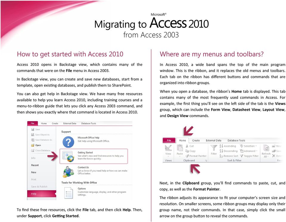 We have many free resources available to help you learn Access 2010, including training courses and a menu-to-ribbon guide that lets you click any Access 2003 command, and then shows you exactly