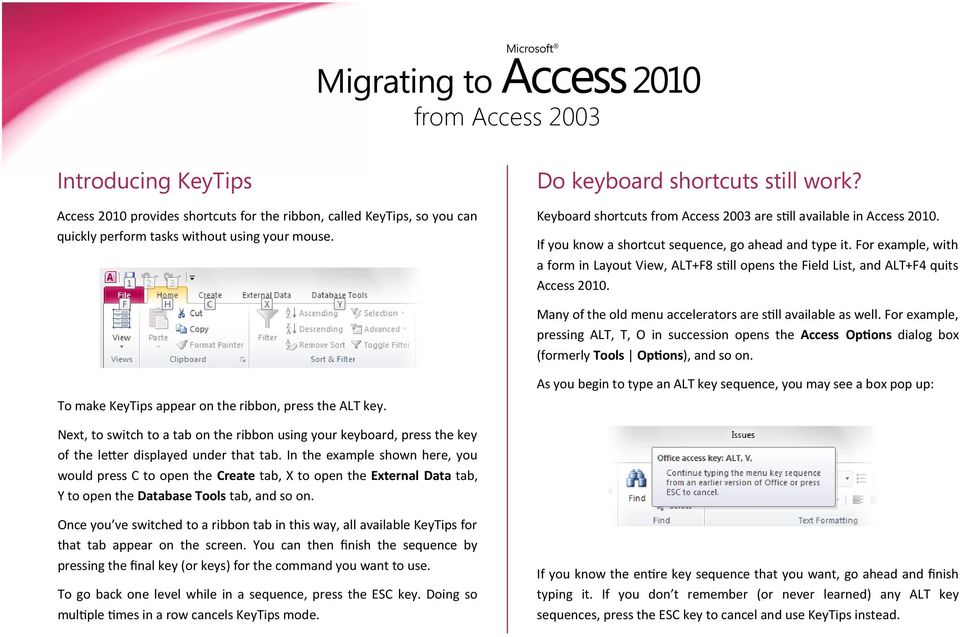 For example, with a form in Layout View, ALT+F8 still opens the Field List, and ALT+F4 quits Access 2010. Many of the old menu accelerators are still available as well.