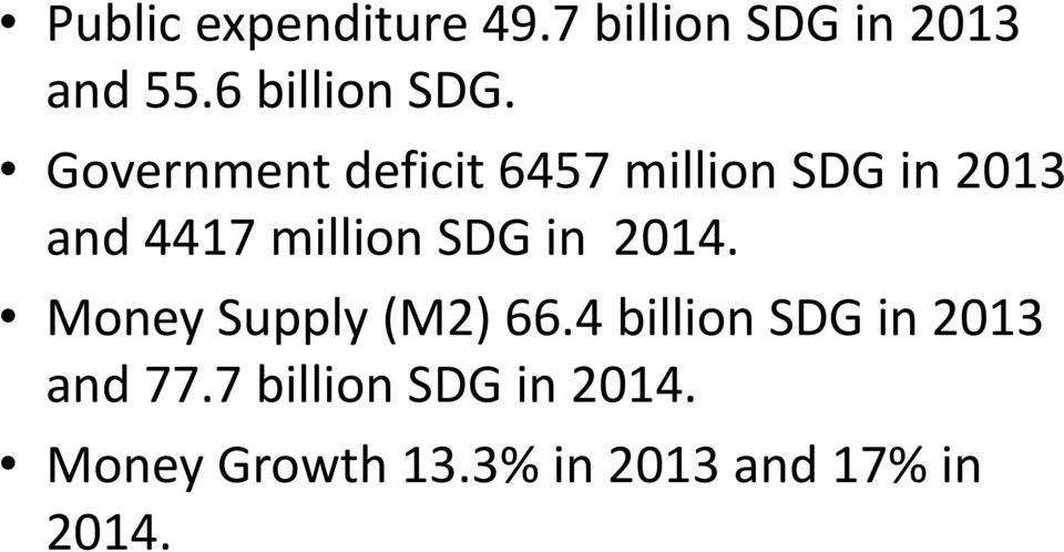 Government deficit 6457 million SDG in 2013 and 4417 million