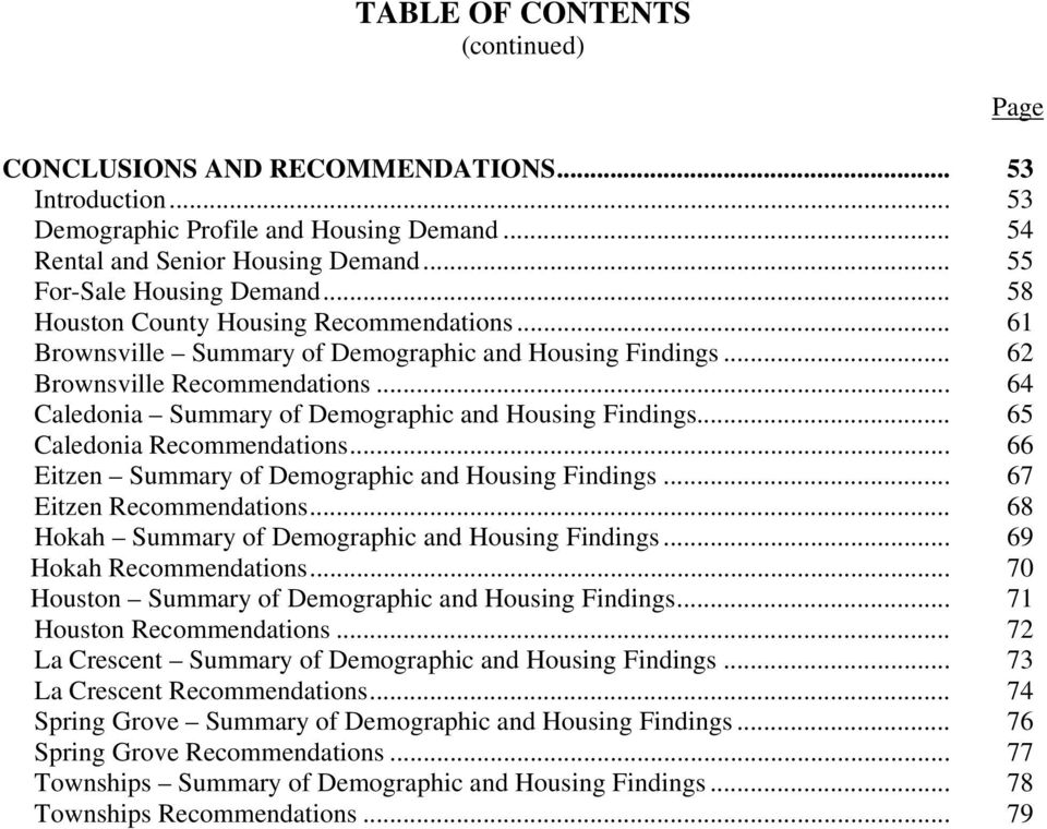 .. 65 Caledonia Recommendations... 66 Eitzen Summary of Demographic and Housing Findings... 67 Eitzen Recommendations... 68 Hokah Summary of Demographic and Housing Findings... 69 Hokah Recommendations.