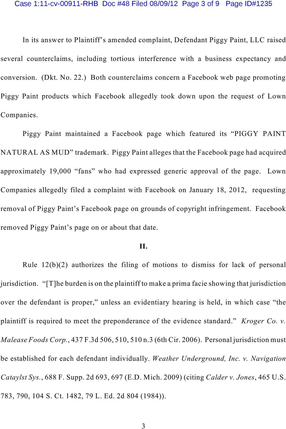 ) Both counterclaims concern a Facebook web page promoting Piggy Paint products which Facebook allegedly took down upon the request of Lown Companies.