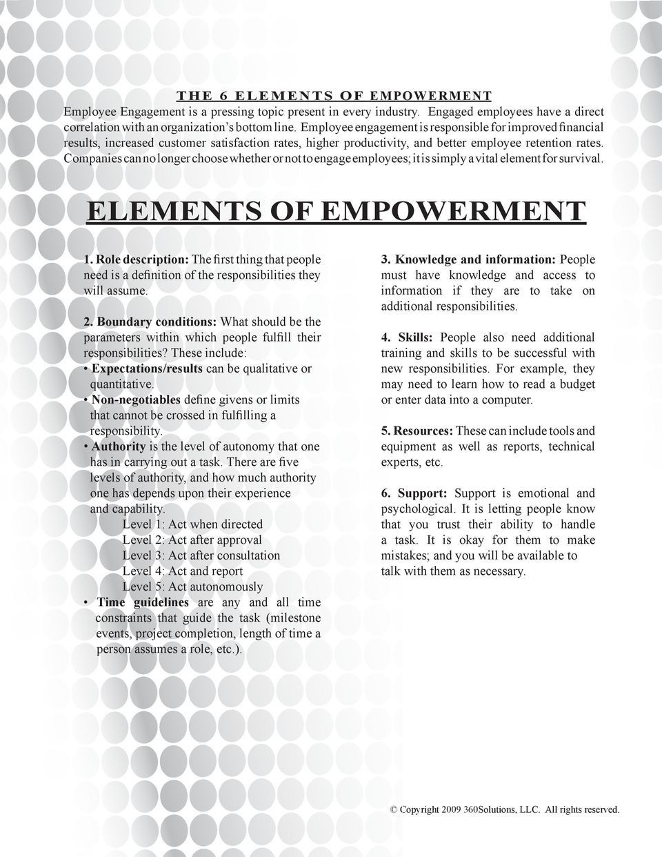Companies can no longer choose whether or not to engage employees; it is simply a vital element for survival. ELEMENTS OF EMPOWERMENT 1.