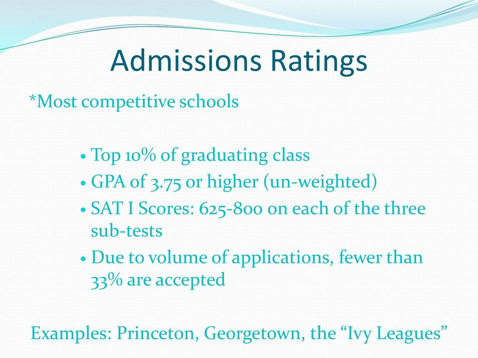 75 or higher (un-weighted) SAT I Scores: 625-800 on each of the
