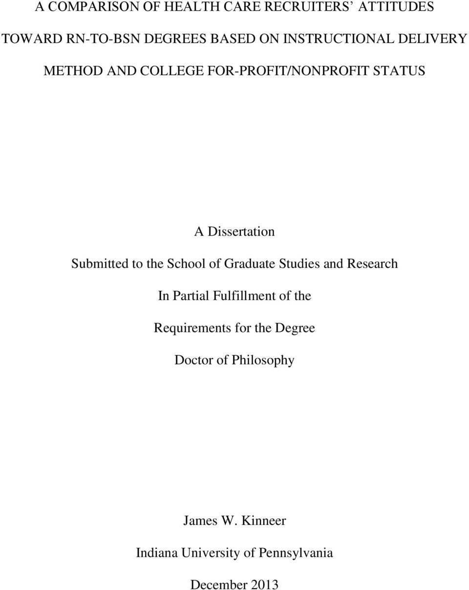 Submitted to the School of Graduate Studies and Research In Partial Fulfillment of the
