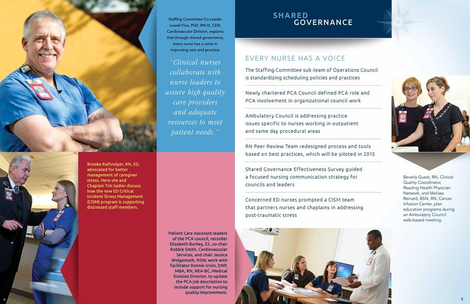 SHARED GOVERNANCE EVERY NURSE HAS A VOICE The Staffing Committee sub-team of Operations Council is standardizing scheduling policies and practices Newly chartered PCA Council defined PCA role and PCA