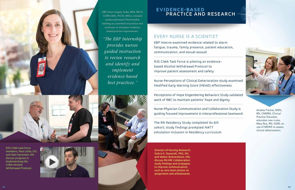 EVIDENCE-BASED PRACTICE AND RESEARCH EVERY NURSE IS A SCIENTIST EBP Interns examined evidence related to alarm fatigue, trauma, family presence, patient education, communication, and sexual assault