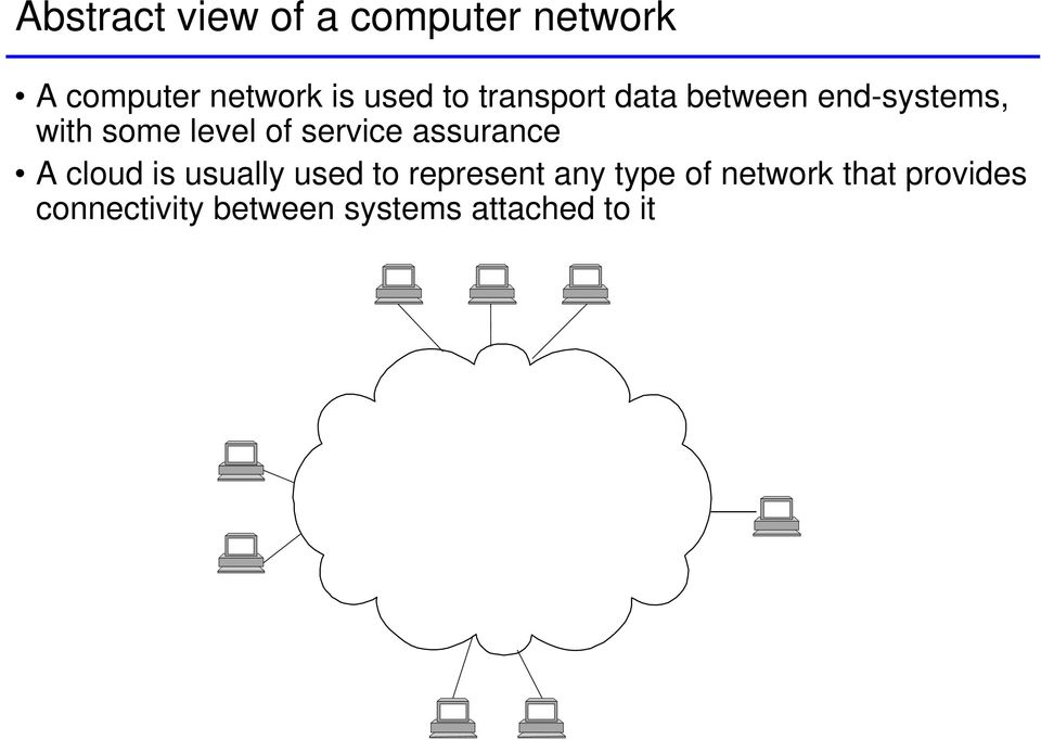 service assurance A cloud is usually used to represent any type