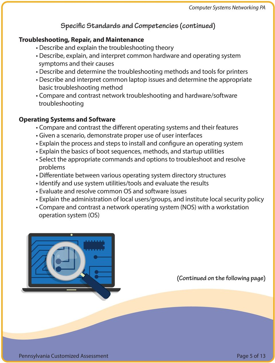 troubleshooting method Compare and contrast network troubleshooting and hardware/software troubleshooting Operating Systems and Software Compare and contrast the different operating systems and their