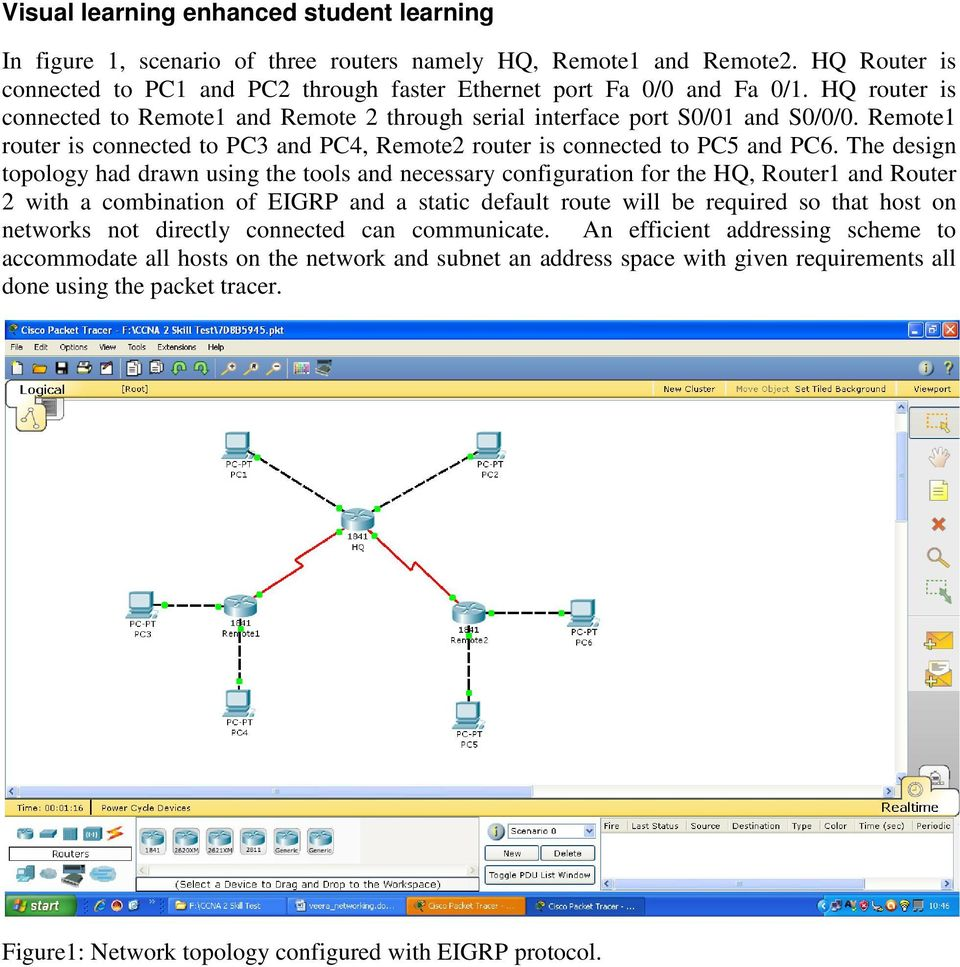 The design topology had drawn using the tools and necessary configuration for the HQ, Router1 and Router 2 with a combination of EIGRP and a static default route will be required so that host on