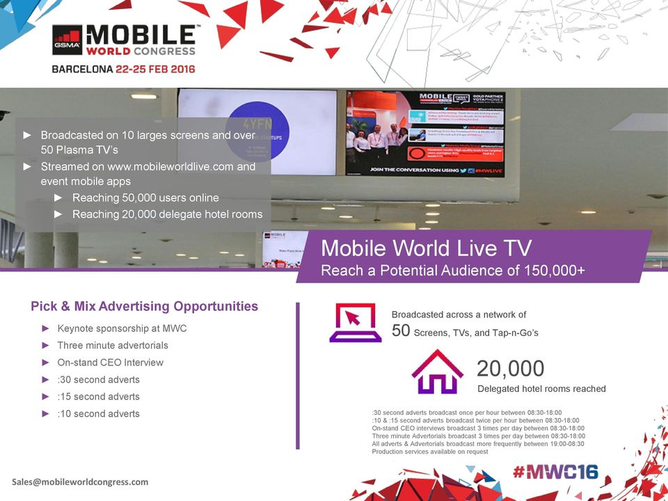 sponsorship at MWC Three minute advertorials On-stand CEO Interview :30 second adverts :15 second adverts Broadcasted across a network of 50 Screens, TVs, and Tap-n-Go s 20,000 Delegated hotel rooms