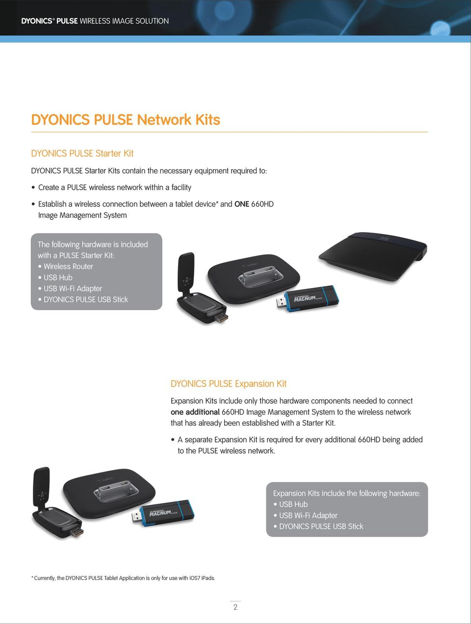 USB Wi-Fi Adapter DYONICS PULSE USB Stick DYONICS PULSE Expansion Kit Expansion Kits include only those hardware components needed to connect one additional 660HD Image Management System to the