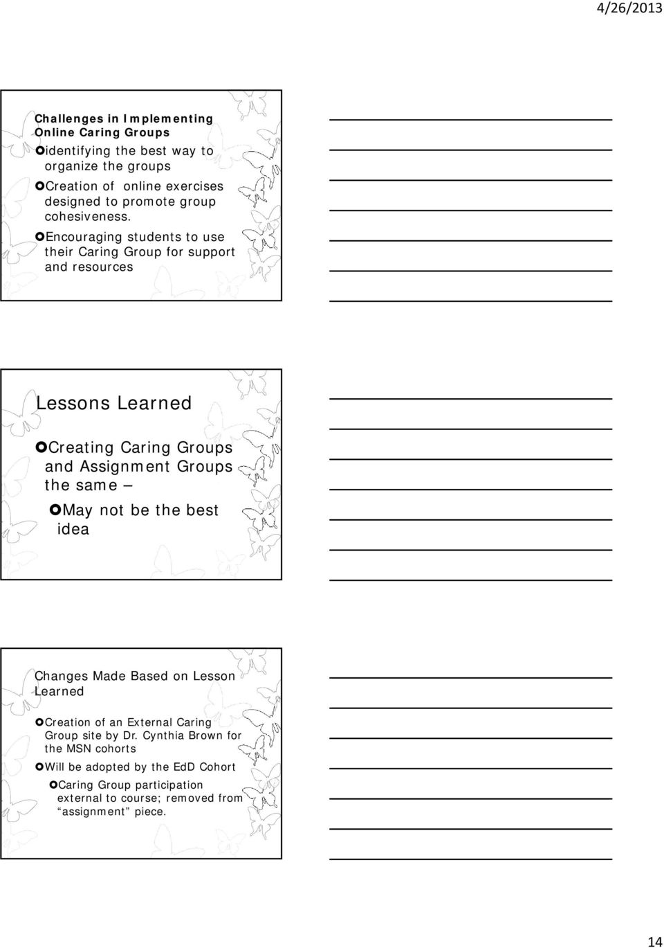 Encouraging students to use their Caring Group for support and resources Lessons Learned Creating Caring Groups and Assignment Groups the