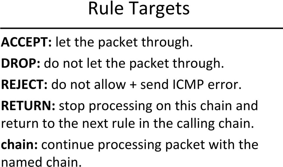 REJECT: do not allow + send ICMP error.