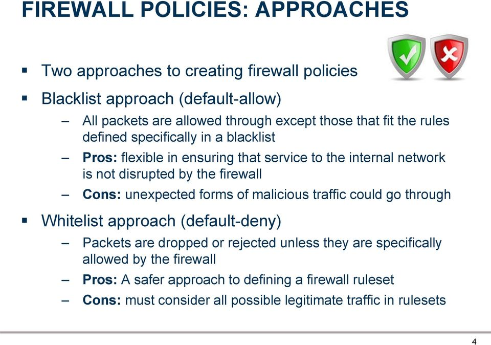 firewall Cons: unexpected forms of malicious traffic could go through Whitelist approach (default-deny) Packets are dropped or rejected unless they are