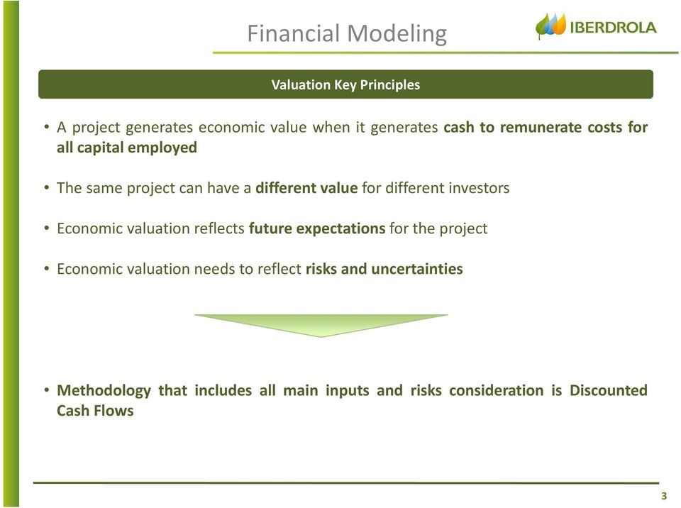 investors Economic valuation reflects future expectations for the project Economic valuation needs to