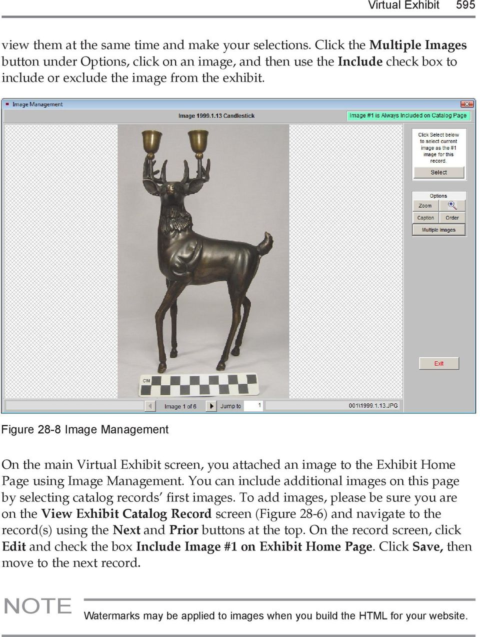 Figure 28-8 Image Management On the main Virtual Exhibit screen, you attached an image to the Exhibit Home Page using Image Management.