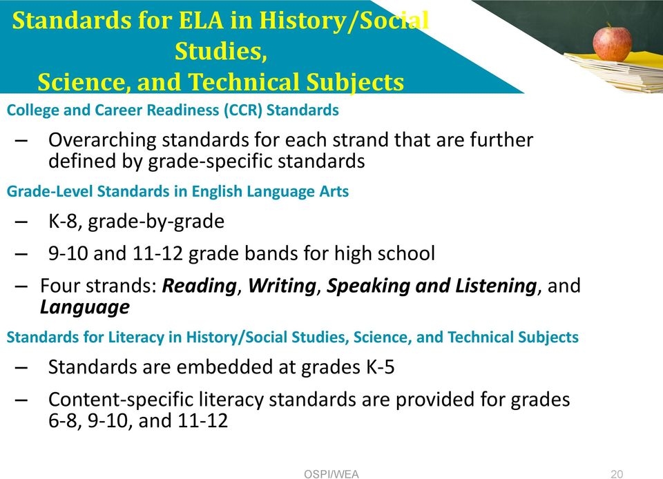 grade bands for high school Four strands: Reading, Writing, Speaking and Listening, and Language Standards for Literacy in History/Social Studies,