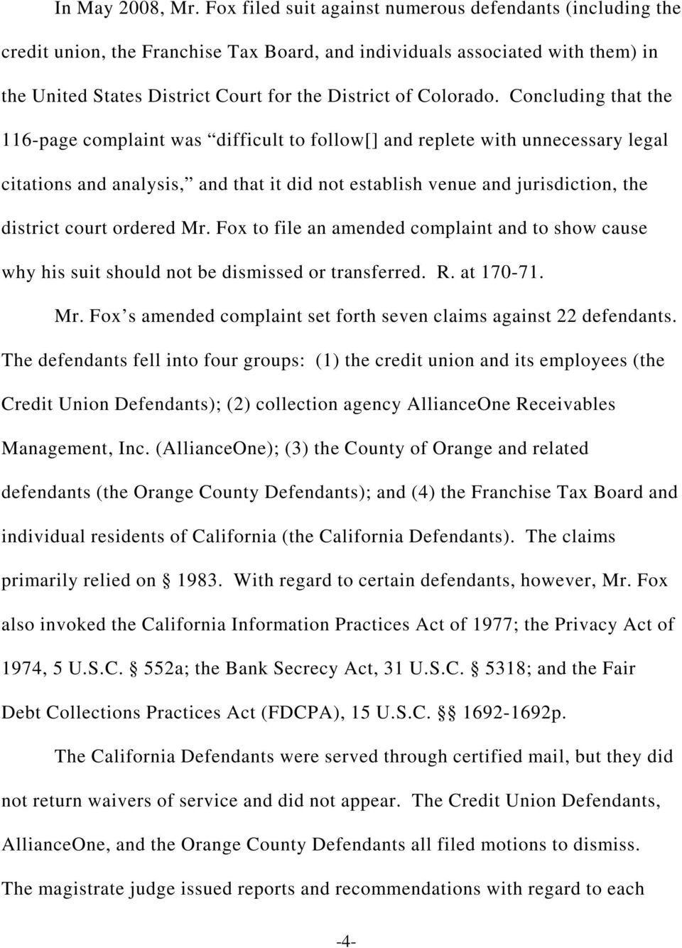 Concluding that the 116-page complaint was difficult to follow[] and replete with unnecessary legal citations and analysis, and that it did not establish venue and jurisdiction, the district court