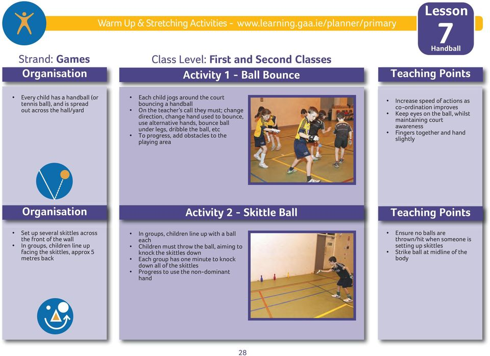 teacher s call they must; change direction, change hand used to bounce, use alternative hands, bounce ball under legs, dribble the ball, etc To progress, add obstacles to the playing area Increase