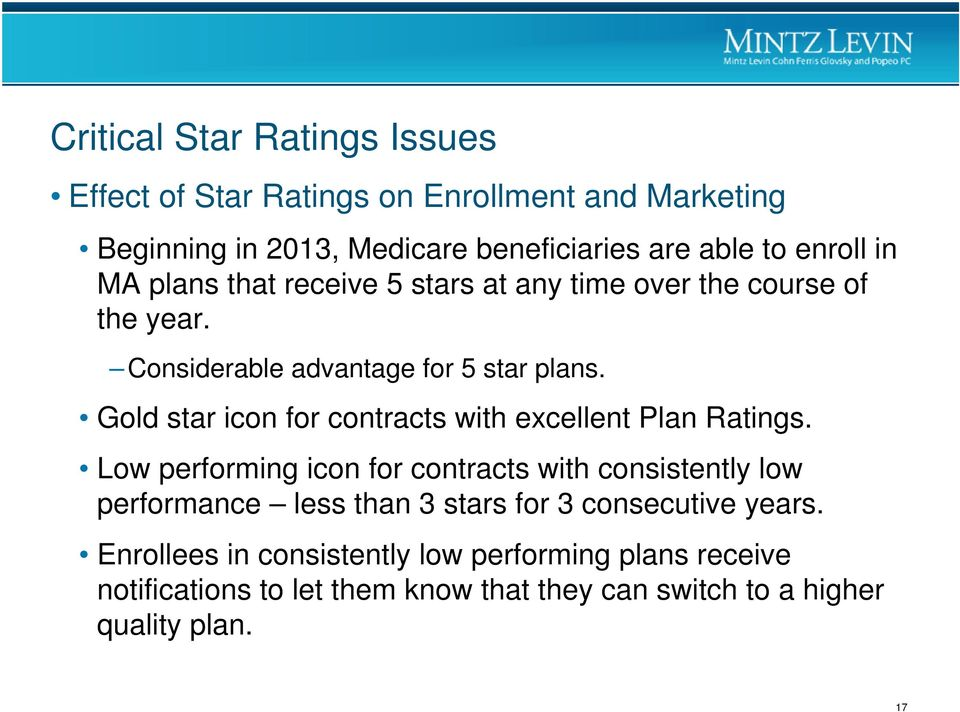 Gold star icon for contracts with excellent Plan Ratings.