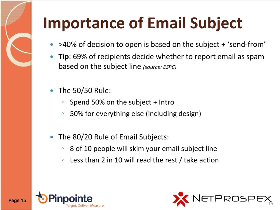 Spend 50% on the subject + Intro 50% for everything else (including design) The 80/20 Rule of Email