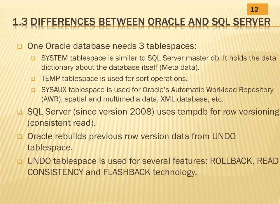 SYSAUX tablespace is used for Oracle s Automatic Workload Repository (AWR), spatial and multimedia data, XML database, etc.