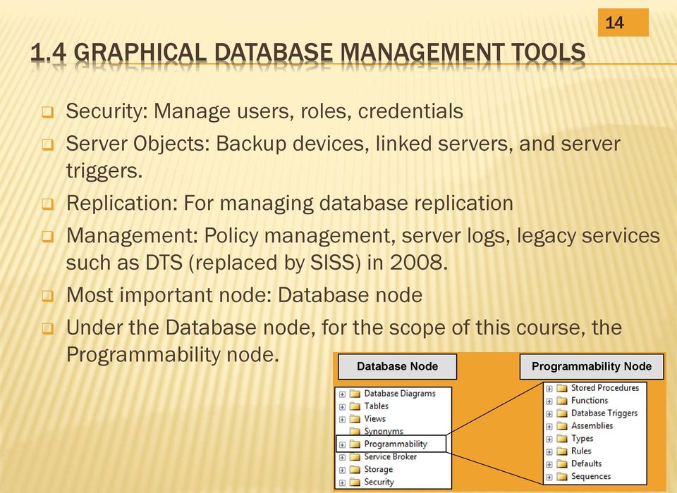 Replication: For managing database replication Management: Policy management, server logs, legacy services such