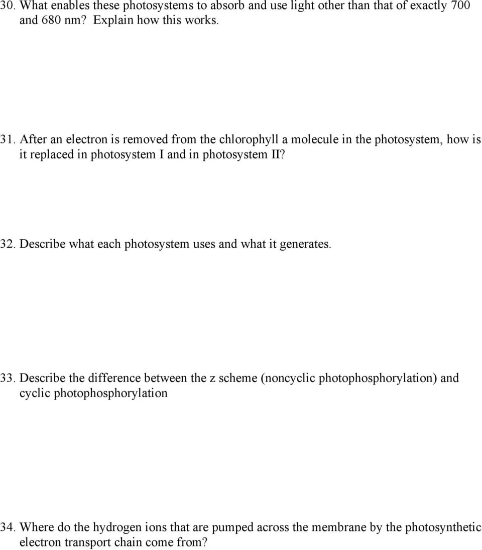 Describe what each photosystem uses and what it generates. 33.