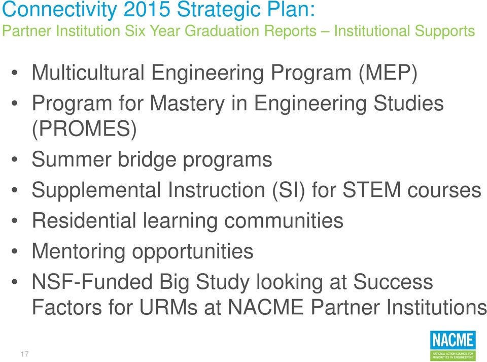 programs Supplemental Instruction (SI) for STEM courses Residential learning communities