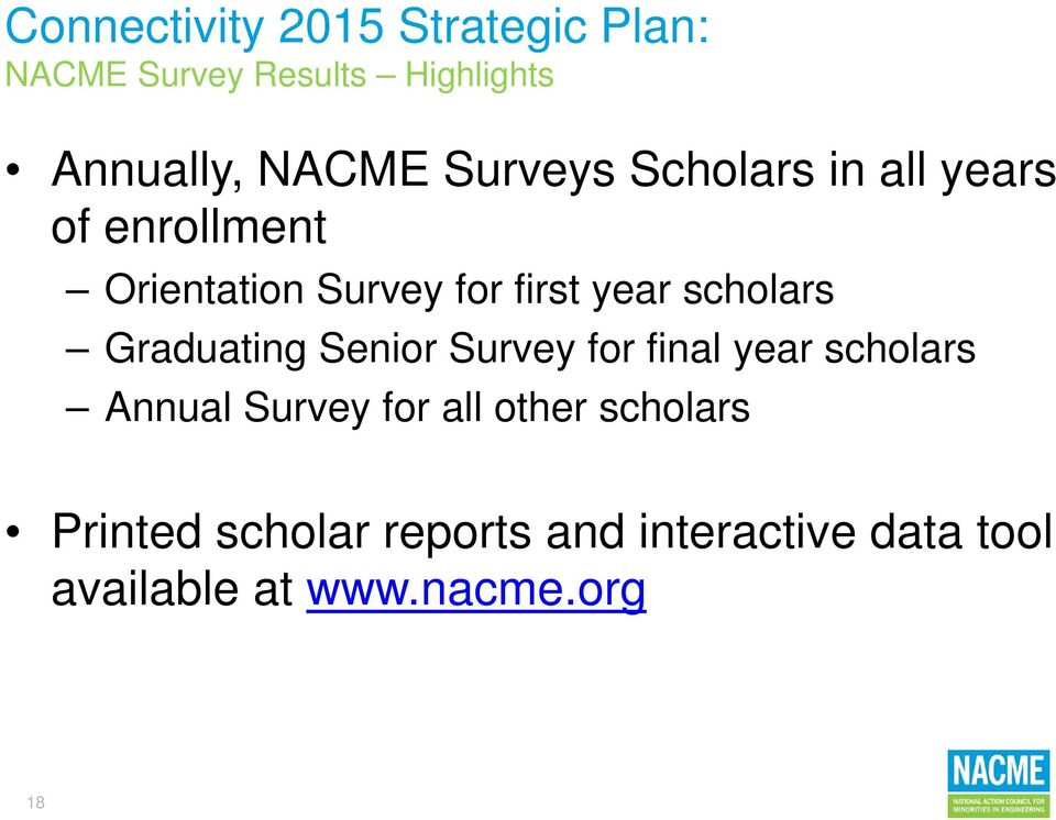 Senior Survey for final year scholars Annual Survey for all other scholars