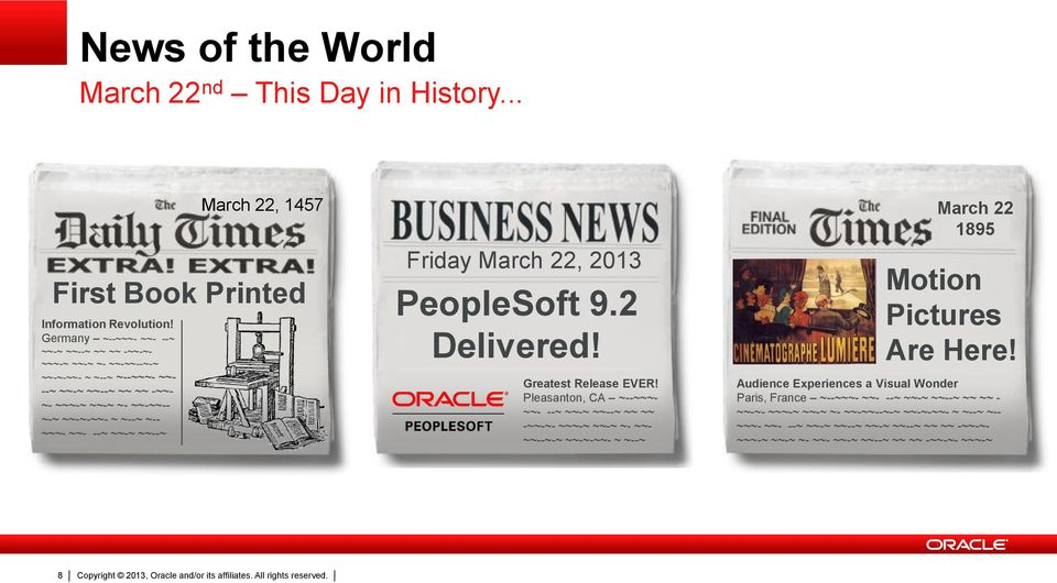 ~~-~ ~~--~ Friday March 22, 2013 PeopleSoft 9.2 Delivered! Greatest Release EVER!