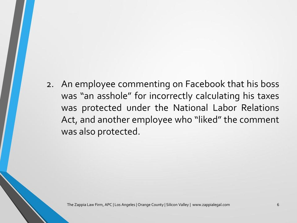 Relations Act, and another employee who liked the comment was also protected.