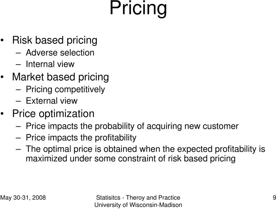 of acquiring new customer Price impacts the profitability The optimal price is